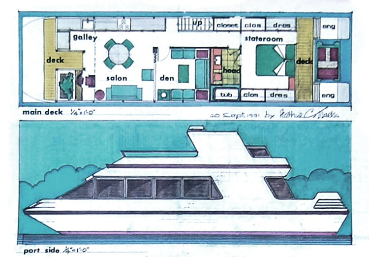 Catamaran houseboats for Boat house floor plans